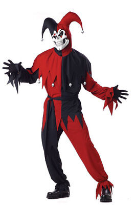 Adult Black/Red Evil Jester Halloween - Halloween Costumes Evil Jester
