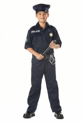 Police Officer Child Halloween Costume Medium 8-10, shirt pants belt hat badge