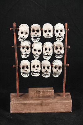 Mexican Aztec Skull Rack Tzompantli Paper Mache Collectible Folk Art Decorative