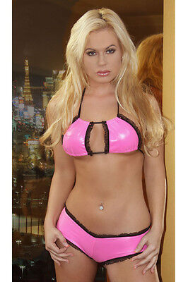 Vinyl Bikini Set - Neon Pink Vinyl Bikini Top & Cheeky Booty Shorts Set/Stripper/Rave/Sexy/s-m