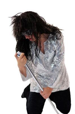 60's/70's/Glam Rocker Silver Glitter DISCO SHIRT, WIG & SPECS Fancy Dress Outfit