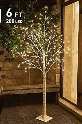 EAMBRITE 6FT Prelit Birch Tree with 288LT Led Fairy Tree Light Warm White Decor