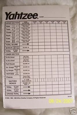 THE BEST YAHTZEE SCORE PADS CARDS  DICE GAME 480 SHEETS ,5 FREE DICE W/EACH SET