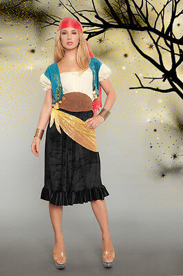 Lady GYPSY Costume Bandana Adult Medium Large 8 10 12 Fortune Teller Pirate](Lady Luck Costume)