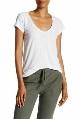 James Perse Deep Scoop Neck T-Shirt Short Sleeve White Women's Size M (2)
