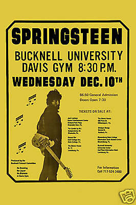 Classic Rock: Bruce Springsteen at Bucknell University Concert Poster 1974 12x18