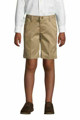 Lands End Boys 231164 Cotton Plain Front Chino Shorts Khaki Tan Sz 16 Adjustable