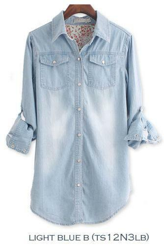 Womens chambray shirt xl ebay for Chambray shirt women