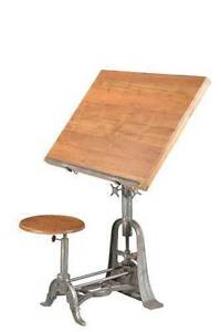 FRENCH DRAFTING TABLE WITH STOOL RECLAIMED TIMBER AND CAST IRON Blakeview Playford Area Preview
