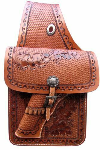 Basket Weave Tooled Leather Western Saddle Bags Motorcycle w/ GUN HOLSTER 176861