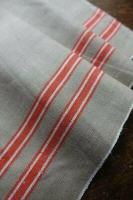 Antique UNUSED unbleached Irish linen fabric tomato red stripe sides 34