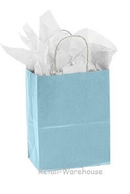 Paper Shopping Bags 100 Light Blue Retail Gift Merchandise 8 X 4 X 10