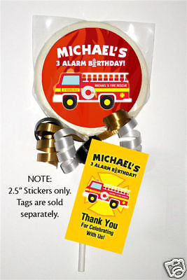 12 Fireman Firefighter Fire Truck  Party Favor Personalized Lollipop Stickers