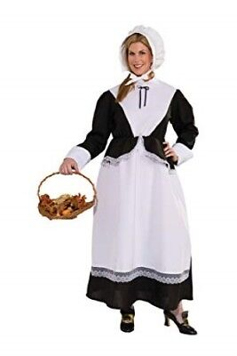 Pilgrim/Puritan Woman Costume 2Pc Blk/Wht Dress W/ Attached Apron & Bonnet Plus