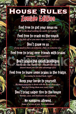 ZOMBIE HOUSE RULES POSTER - 24x36 SHRINK WRAPPED - WALKING DEAD EDITION 5460