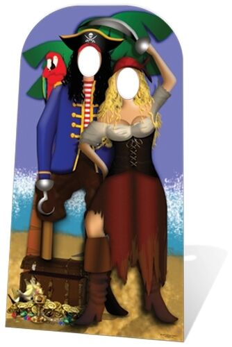 Pirate Couple Stand In Cardboard Cutout Figure 186cm Tall - Great for Photos