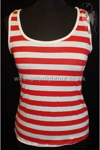 RED & WHITE STRIPED TSHIRT TOP HAT GLASSES SOCKS BLUE LEGGINGS WALLY FANCY DRESS