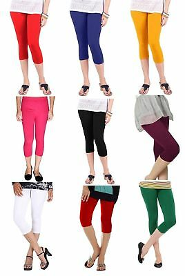 Indian 3/4 Length Capri Women Legging Cotton Lycra 4 Way Stretch Yoga Pant