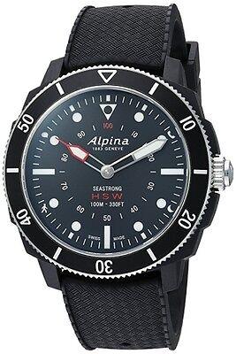 NEW ALPINA SEASTRONG SMART WATCH 44MM BLACK DIAL BLACK RUBBER STRAP AL-282LBB4V6