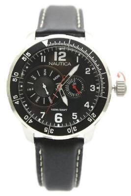 New Nautica Multi-Function Black Leather Date Men Dress Watch 47mm N15588G $155 ()