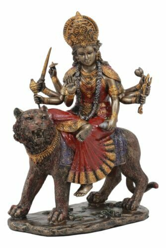 The Invincible Eight Handed Hindu Goddess Durga Sitting On Bahan Tiger Statue