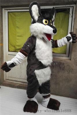 Hot Adult Long Fur Brown Husky Dog Mascot Costume Halloween Fox Suit Gray - Gray Fox Halloween Costume