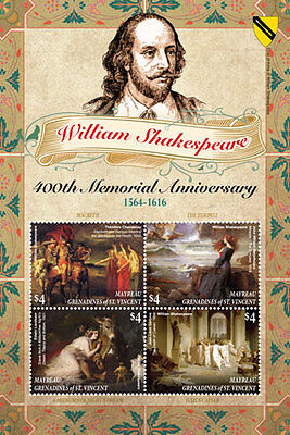 Mayreau- 2016 William Shakespeare memorial Sheetlet of 4 stamps MNH