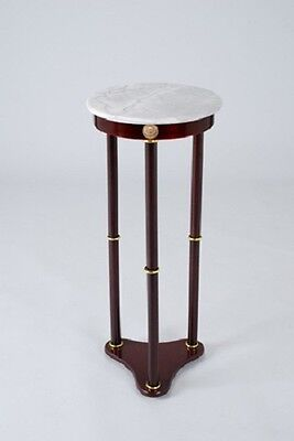 Base Plant Stand - Plant Stand Side Table, White Marble Top and Cherry Finish Wood Base