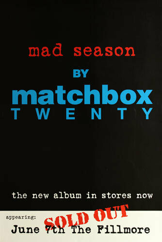 Matchbox Twenty 20 Mad Season 2001 Fillmore San Francisco  Promo Concert Poster