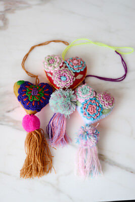 Mexican Heart Embroidered Felt Ornament Decoration with Tassel