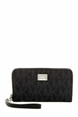 MICHAEL KORS NEW LARGE Multifunction Wallet Black Leather Zip Around RRP £139