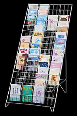 Floor Greeting Card Easel Display Rack - 60 Pocket 5 X 7 White