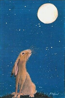 LTD EDIT MOON GAZING HARE PRINT FROM ORIGINAL PAINTING BY SUZANNE LE GOOD