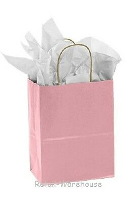 Paper Shopping Bags 100 Light Pink Retail Merchandise 8 L X 4 D X 10  H