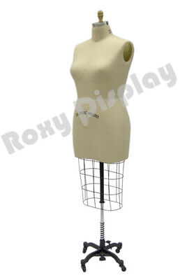 Female Professional Pro Half Body Dress Form Mannequin Size 22 Whip