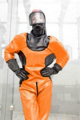 GUMMI LATEX ORANGE UNIFORM BODYSUIT CATSUIT GANZANZUG ZIPPER KOST M MAN SEXY XXL