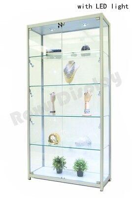 Aluminum Tower Rectangular Display Showcase Assembled W Led Lights Sc-tw40al