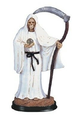 12 Inch White Santa Santisima Muerte Holy Death Grim Reaper Statue Skull Figure
