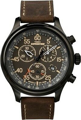 """Timex T49905, Men's """"Expedition"""" Leather Indiglo Watch, Chronograph, T499059J"""
