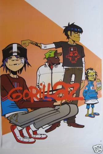 """GORILLAZ """"GROUP UP AGAINST A PEACH-COLORED WALL"""" POSTER FROM ASIA - Blur, Albarn"""