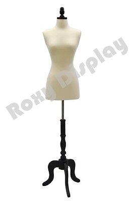 Size 2-4 Female Mannequin Manikin Dress Form Black Wood Base Fwpw-4 Bs-atq-bk