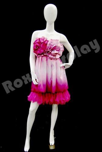 Female Fiberglass Egg Head  Mannequin Dress Form Display #GF12W2-S