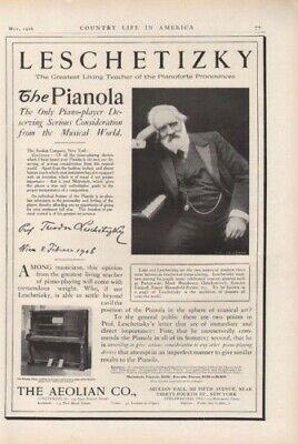 1906 AEOLIAN THEODOR LESCHETIZKY TEACHER PIANOLA MUSIC8184