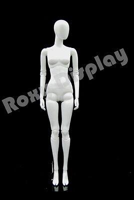 Female Fiberglass Matte White Mannequin Egg Head Fake Joints Mz-abegw4