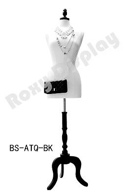 Female Pure White Foam Dress Form Tripod Wood Base Jf-f68lwbs-atq-bk