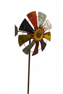 Orange Windmill - 70 inch MULTICOLOR WINDMILL STAKE with SUN CENTER Yellow Orange Blue Hues IRON