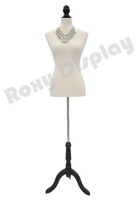 Female Mannequin Dress Body Form White Cover And Black Wooden Base Jf-py01w