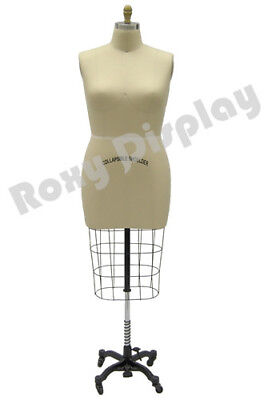 Female Professional Pro Half Body Dress Form Mannequin Size 24 Whip