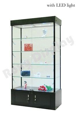 Tower Rectangular Black Display Showcase Store Fixture Assembled Wlightswl40bk