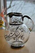 Silver Overlay Glass Pitcher
